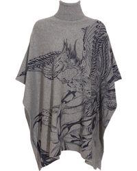 Horiyoshi III Knitted Poncho with Phoenix Print - Gray