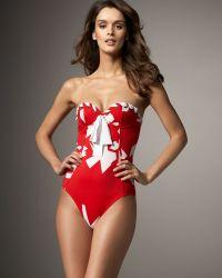 Oscar de la Renta Printed Bandeau Swimsuit - Lyst