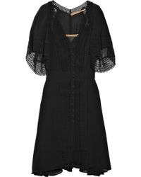 Thurley Lace-detailed Georgette Dress black - Lyst