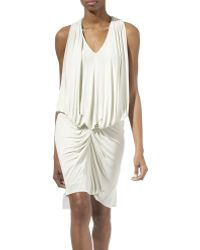 Julien Macdonald Drape Front Jersey Dress White - Lyst