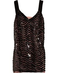 Alberta Ferretti Paillette-embellished Mesh and Silk Top - Lyst