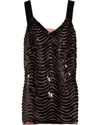 Alberta Ferretti Paillette-embellished Mesh and Silk Top black - Lyst