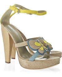 Philosophy di Alberta Ferretti Suede Butterfly Appliqué Sandals - Lyst