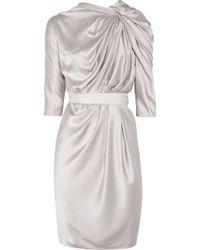 Lanvin Knot-front Silk-satin Dress gray - Lyst