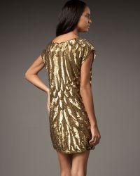Haute Hippie Sequined Bugle Bead Dress gold - Lyst