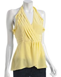 BCBGMAXAZRIA Lime Yellow Silk Pleated Halter Top - Lyst