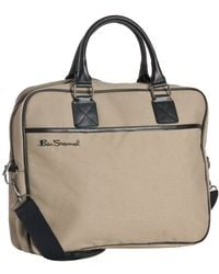Ben Sherman - Taupe Canvas Laptop Messenger Bag - Lyst