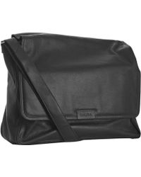 Calvin Klein Black Pebbled Leather Messenger Bag - Lyst