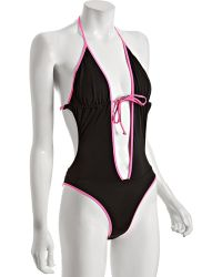 DIESEL - Black and Pink Paenas Cut-out One Piece Swimsuit - Lyst