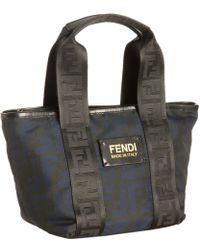 Fendi Black and Indigo Zucca Canvas Mini Tote - Lyst
