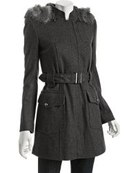French Connection Grey Wool Blend Cherish Me Belted Hooded Coat - Lyst