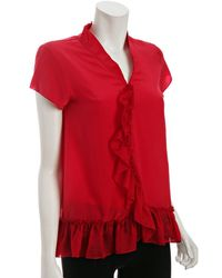 Geren Ford Red Silk Ruffle Trim Blouse - Lyst