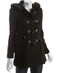 Marc New York Black Wool Toggle Front Fur Trim Hooded Coat - Lyst