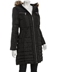 MICHAEL Michael Kors Black Quilted Hooded Down Parka - Lyst