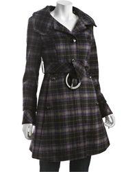 SOIA & KYO - Black Wool Plaid Nana Belted Coat - Lyst