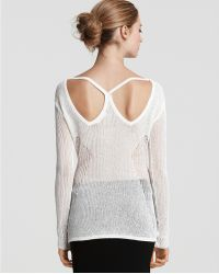 Helmut Lang Paneled Lace Racerback Sweater - Lyst