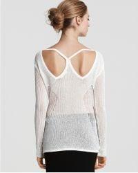 Helmut Lang Paneled Lace Racerback Sweater white - Lyst