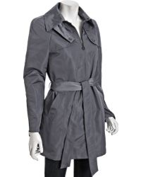 DKNY Steel Zip Front Julia Belted Trench Coat - Lyst