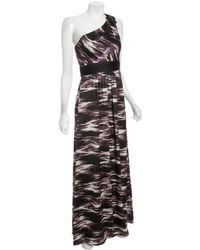 Max & Cleo - Black Ikat Printed One Shoulder Gown - Lyst