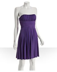 Max & Cleo - Purple Jersey Pleated Sweetheart Strapless Dress - Lyst