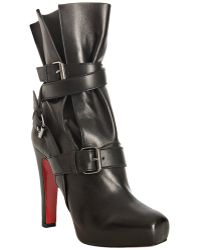 Christian Louboutin Black Leather Guerriere 120 Wrapped Boots - Lyst