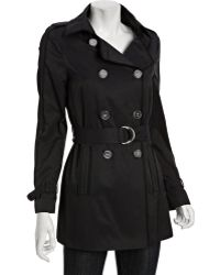 Elie Tahari Navy Cotton Blend Cathy Double Breasted Belted Tench Coat - Lyst
