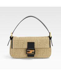 Fendi Linen Zucca Baguette Shoulder Bag - Lyst
