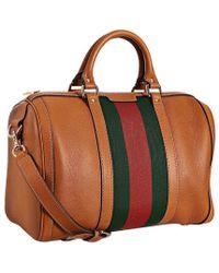 Gucci Tobacco Leather Vintage Web Boston Bag - Lyst