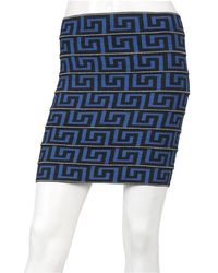Pleasure Doing Business Grecian Key 9 Band Elastic Skirt In Black Blue - Lyst