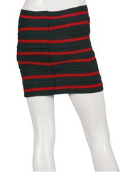 Pleasure Doing Business 7 Band Criss Cross Skirt In Green Red Stripe - Lyst