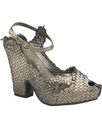 Sheridan Mia - - Pewter Leather Woven Frayed Sandal - Lyst
