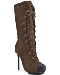 L.A.M.B. Prudence Suede Lace Up Boots brown - Lyst
