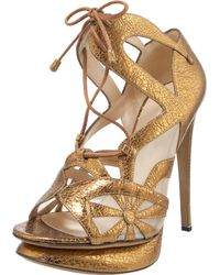 Nicholas Kirkwood Glitterfinished Leather Sandals - Lyst