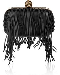 Alexander McQueen Classic Skull Fringe-embellished Leather Box Clutch - Lyst