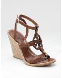 Tory Burch Edna Logo Wedge Sandals - Lyst