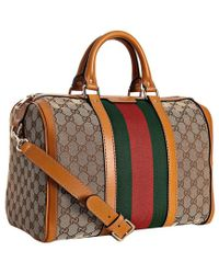 Gucci Tobacco Trim Gg Canvas Vintage Web Boston Bag - Lyst