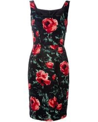Dolce & Gabbana Lace And Carnation-Print Brocade Dress - Lyst