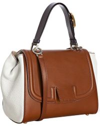 Fendi Brown Leather Silvana Flap Crossbody Bag - Lyst