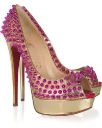 Christian Louboutin Lady Peep Spikes 150 Leather Pumps - Lyst