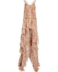 Julien Macdonald Peignoir Petal-print Silk-chiffon Two-piece - Lyst