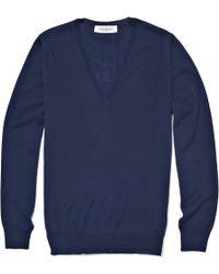 Saint Laurent Wool V-neck Jumper - Blue