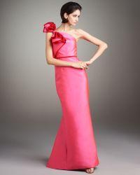 Carolina Herrera Contrast Bow-shoulder Gown - Lyst