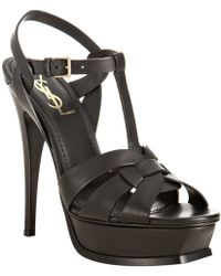 Saint Laurent Tribute Leather Sandal 4 Heel - Lyst