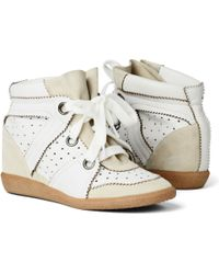 Isabel Marant Betty Leather and Suede Sneakers - Lyst