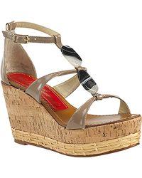 Paloma Barceló Vaini - Taupe Patent Leather Cork Wedge Sandal - Lyst