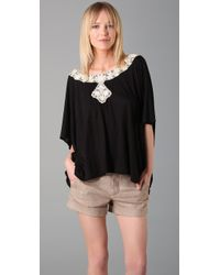 Beyond Vintage | Short Sleeve Top with Lace Applique | Lyst