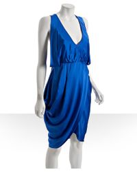 Laila Azhar - Blue Silk V-neck Tulip Dress - Lyst