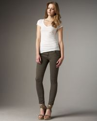 7 For All Mankind - Featherweight Twill Skinny Jeans, New Olive - Lyst