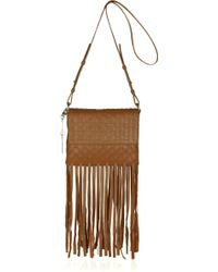 DKNY Fringed Basketweave Leather Shoulder Bag - Lyst