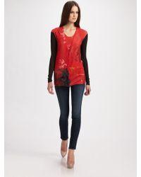 TSE Impressionist Floral Cardigan - Red